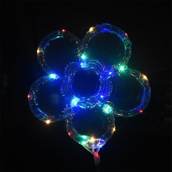 top popular LED Plum Blossom Balloon 18 inch Flashing club Bobo Ball Light Up Balloons with battery boxes Wedding Birthday Party Decoration 2020 2021