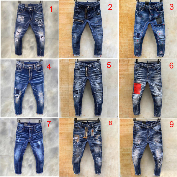 top popular mens jeans blue hole ripped pants fashion italy style skinny denim pants biker motorcycle rock revival jean 9 style 2020