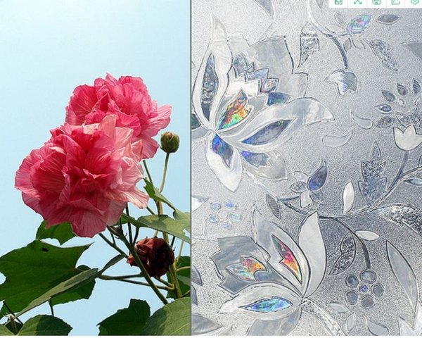 top popular 2020 hot sale Hot selling PVC refracting colorful tulip electrostatic glass paste no adhesive window film can remove window cuts 2021