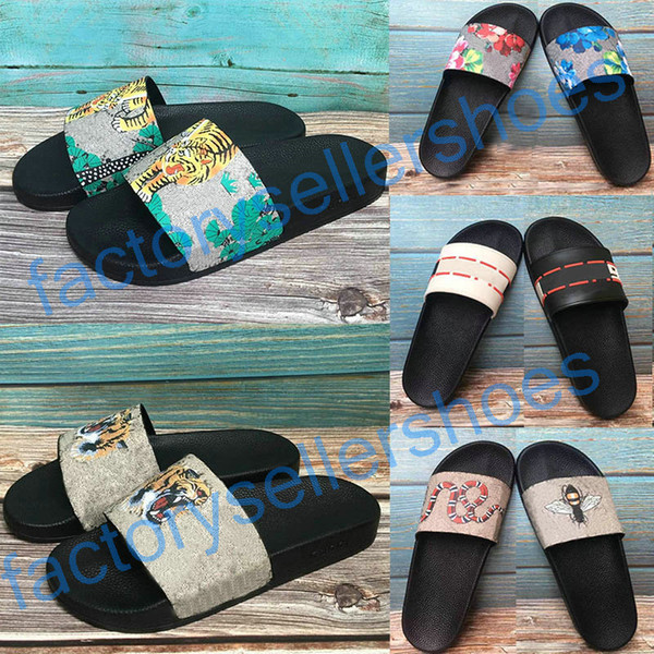 top popular 2020 top Sandals Sandales Floral brocade Mens Fashion Slippers Red White Gear Bottoms Flip Flops Womens Slides Casual Flats slipper US 12 2020