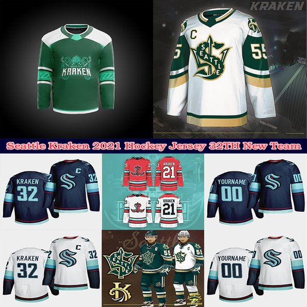 best selling 2021 Seattle Kraken Ice Hockey Jersey 32th New Team Custom Mens Womens Youth Road Any Nunber Any Name Stitched Shirt Good Quality Jerseys