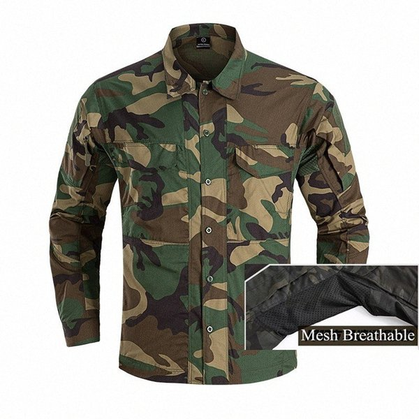 best selling Camo Long Sleeve Tactical Shirt Fans Combat Training Clothes Mens Outdoor Breathable Wearproof Hiking Sports Shirt Tops Y1i2#