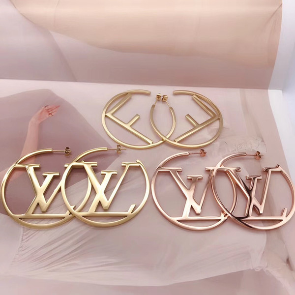 best selling Big Size Hot Sale Top Quality Fashion Design Ear Studs Hip Hop Titanium Steel Earrings Gold Silver Rose Hoop For Women Jewelry Wholesale