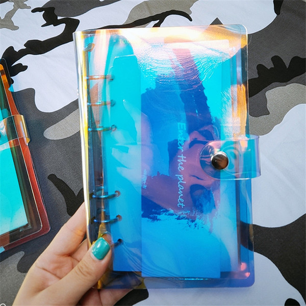 top popular Notebook Binder Laser Clips A5 A6 A7 Organizer Transparent Rainbow Note Books Round Ring Binders Notepads PVC Pocket Notebook A03 2021