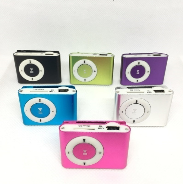 top popular Colorful Mini Clip MP3 player without LCD Screen support Micro SD TF card DHL free Shipping 2021