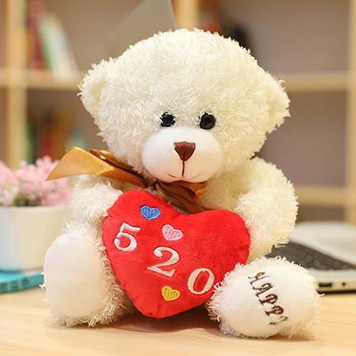 White brown ribbon love bear