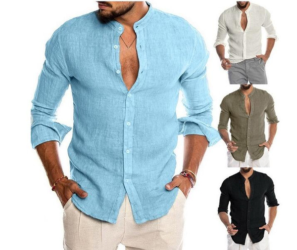 top popular New Arrival Men's Shirts Polos V-neck Long Sleeve Linen Party Casual Shirts Breathable Gift Size M-3XL 2020