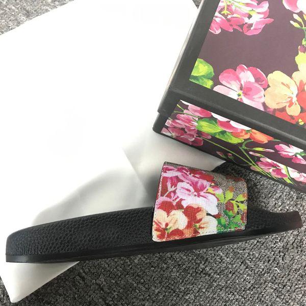 top popular women sandals slipper womens fashion slides flip flops print flower pattern Summer Fashion Wide Flat Slippery With Box 2021