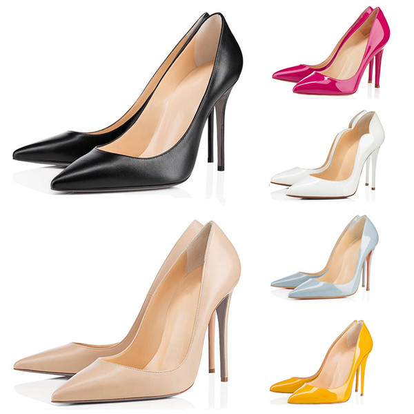 best selling 2020 red bottom fashion high heels for women party wedding triple black nude yellow pink glitter spikes Pointed peep Toes Pumps Dress shoes