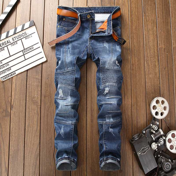 fashion ripped slim stretch jeans new trend men's clothing stitching worn denim trousers autumn retro hole jeans streetwear, Blue