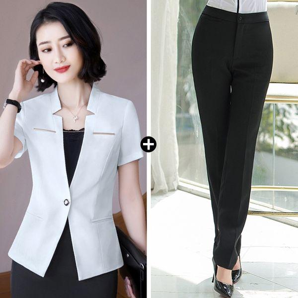 Pantalones de traje negro vestido de blanco +