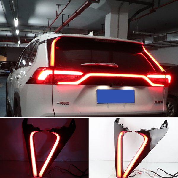 best selling 2PCS Car LED Reflector For Toyota RAV4 2019 2020 Rear Pillar Light Rear Running Light Bumper Brake Light Dynamic Turn Signal