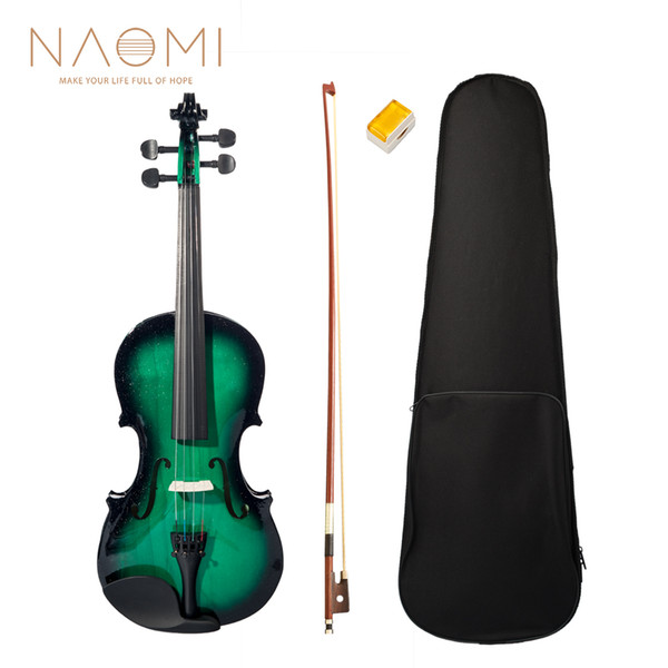 best selling NAOMI Acoustic Violin 4 4 Violin Full Size Fiddle +Case Bow Rosin Green & Black For Students Beginners Violin Accessories SET NEW