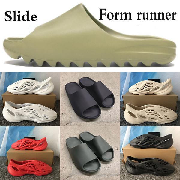 top popular New arrival Men Women Slide resin soot core bone white sandal outdoor shoes Ararat desert sand triple black Foam Runner sandals with box 2020