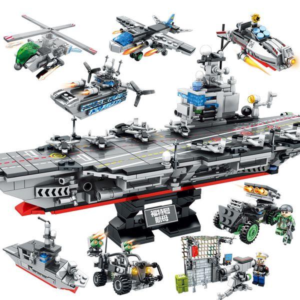 best selling 8 In 1 Military Building Blocks Model Assembled Helicopter Battleship Car Vehicle DIY Toys Brick Kids