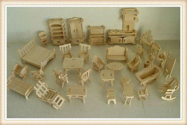 top popular Wholesale DIY 1:16 Mini Furniture Kids Educational Dollhouse Furniture Set,3D Woodcraft Puzzle Model,Brinquedos BcZN# 2021