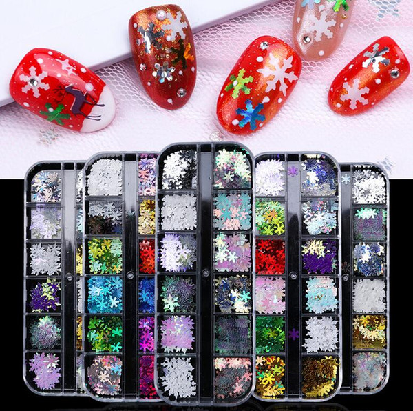 top popular Snowflake Nail Glitter Sequins Nail Art Stickers 12 Grids Flakes Snow DIY Manicure Tool Xmas Nail Art Decorations Set Free Ship 2021