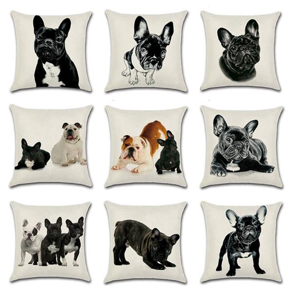 top popular Cartoon Dog Cushion Cover Cotton Linen Bulldog Throw Pillow Case For Sofa Bulldog Decorative Pillowcase Cushion Cover kussenhoes 2021
