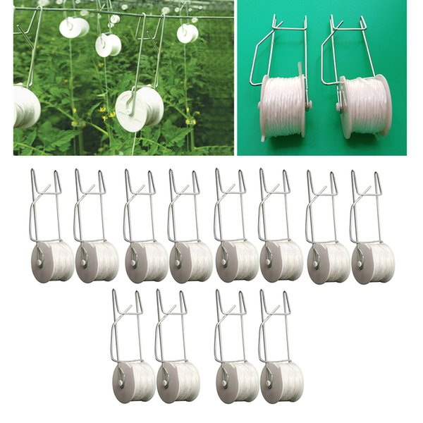 12pcs 15m garden tomato hook vegetable clamps for garden farms planting