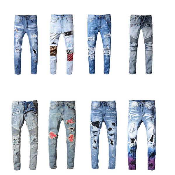 best selling 2020 Mens Distressed Ripped Biker Jeans Slim Fit Motorcycle Biker Denim For Men Fashion Hip Hop Mens Jeans Good Quality Cool cowboy