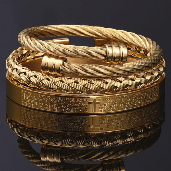 best selling 3pcs Set cross Men Bracelet Handmade Stainless Steel Hemp Rope Buckle Open Bangles Pulseira Bileklik Luxury Jewelry