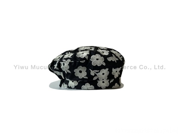 6442-black White Flower Beret