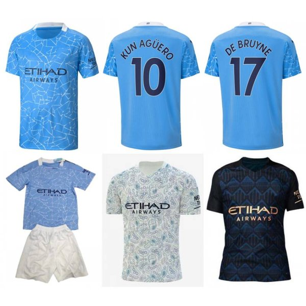 top popular 2020 21 City Soccer Jersey 2021 #17 DE BRUYNE Kids Kit #7 STERLING SANE Football Uniform Mens #10 KUN AGUERO JOAO CANCELO Shirt 2021