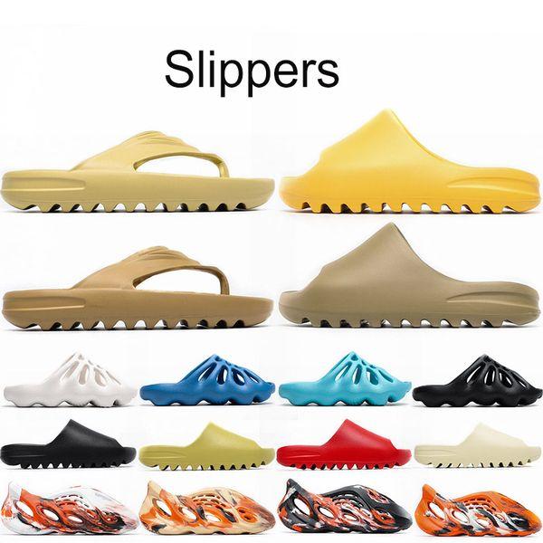 top popular Cheap kanye west Foam runner clog sandal triple black white fashion slipper women mens tainers designer beach sandals slip-on shoes 24-46 2021
