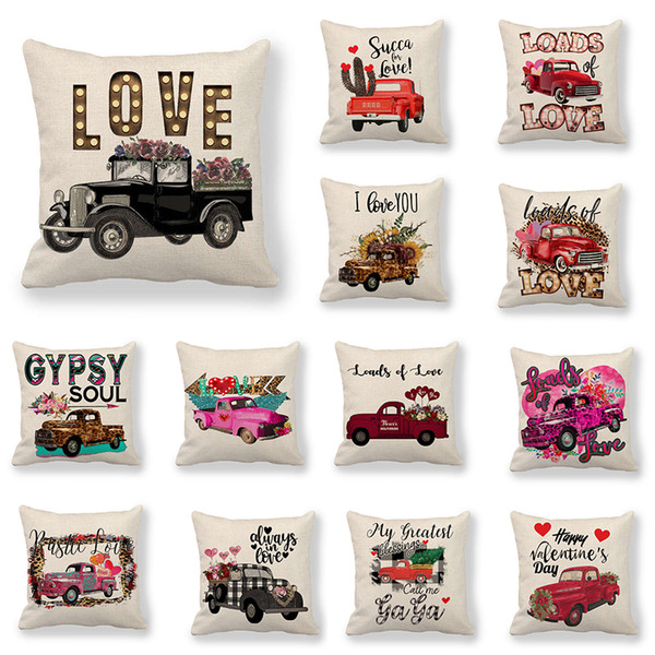 best selling 109 Designs Valentines Pillows Case Valentine's Day Letter Printing Heart Pillow Cover 45*45cm Sofa Nap Cushion Covers Home Decoration M2466