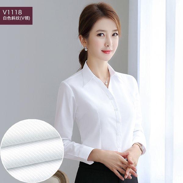 Bianco Twill Stripe V1118 (v-collare)