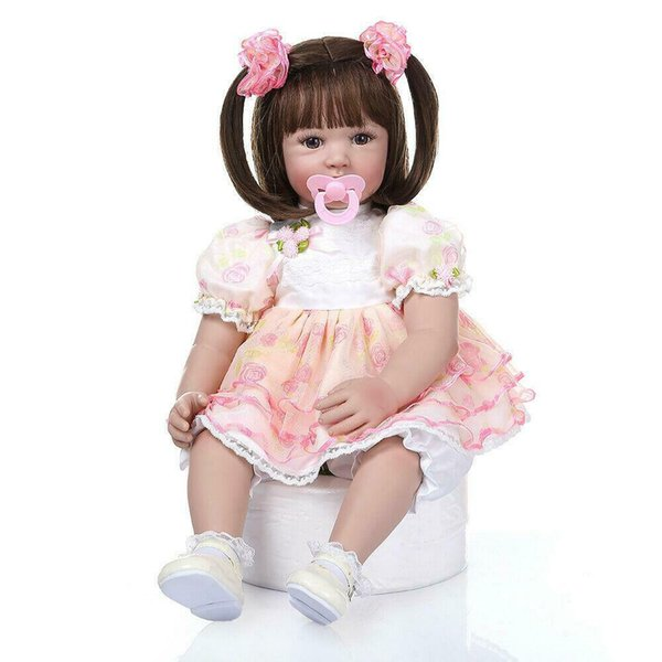 "top popular Lifelike 24"" Adorable Reborn Toddler Baby Dolls Soft Silicone Girl Xmas Gifts 2021"