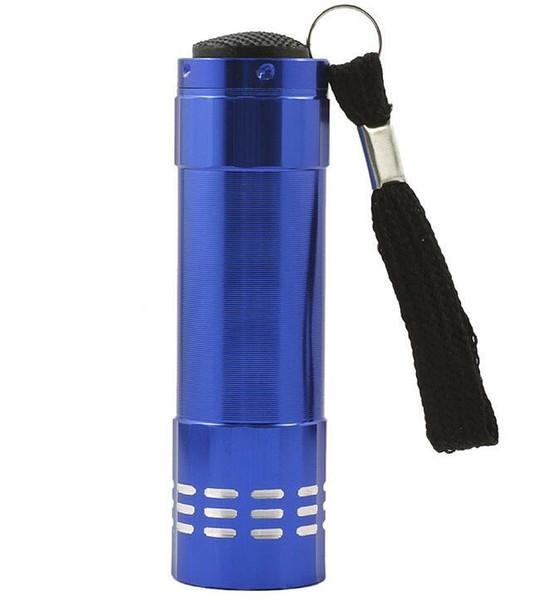 best selling 9 LED UV Torch Mini Portable UV Ultra Violet Blacklight 9LED Flashlight lamp Light portable outdoor Aluminium Alloy flashlight torch lamp