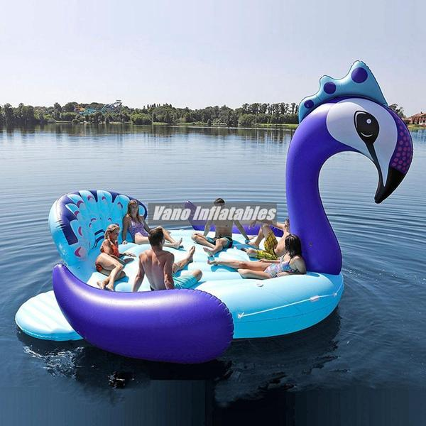 top popular 16ft Inflatable Boat Peacock Giant Floats Flamingo Unicorn Big Pool for 6 People Pool Float Mattress Beach Party Supplies Water Toys 2021