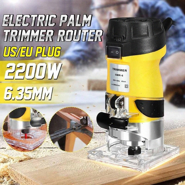 top popular 2200W 6.35mm Electric Laminate Edge Trimmer Mini Wood Router Carving Machine Carpentry Woodworking Power Tools JzqJ# 2021