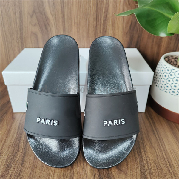 top popular Paris Sliders Mens Womens Summer Sandals Beach Slippers Ladies Flip Flops Loafers Black White Pink Slides Chaussures Tongues Shoes Home 2021