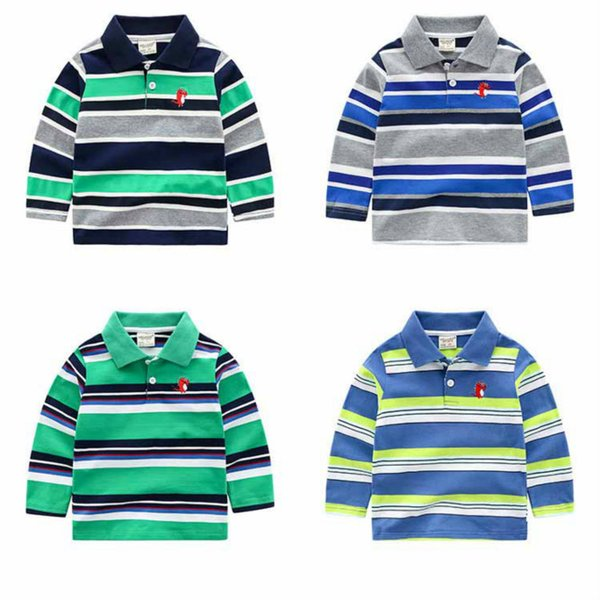 best selling Boys Designer Long Sleeved Tshirts Fashion 2020 New Arrival Striped Polo Shirts Kids Designer Clothes Boys Pullever Classic Tops New