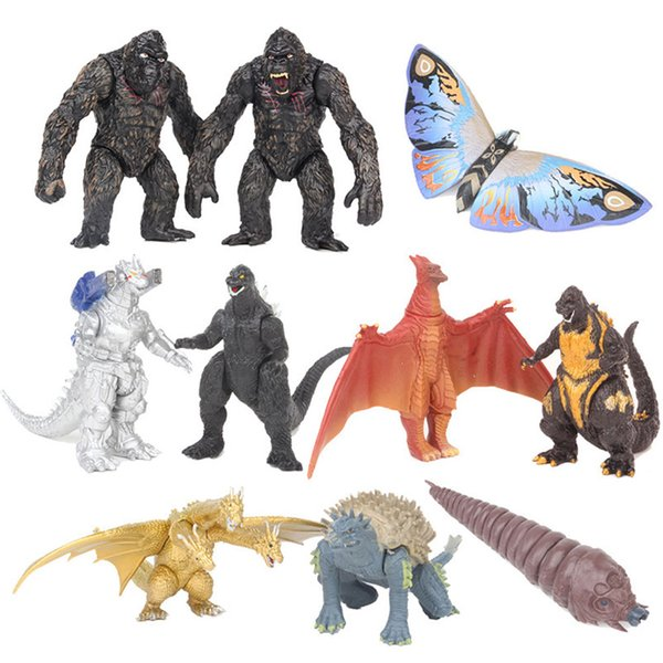best selling 10pcs set Gojira Jinlian Mechanical Three-headed Dragon Chimpanzee Monkey Action Figuredoll Car Decoration