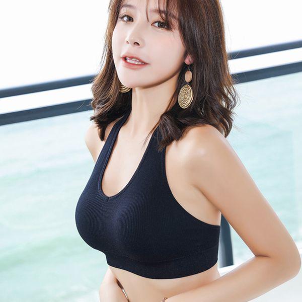 best selling Summer Fitness Bra U Neck Women's Bottoming Tank Top Beauty Back Halter Sexy Vest