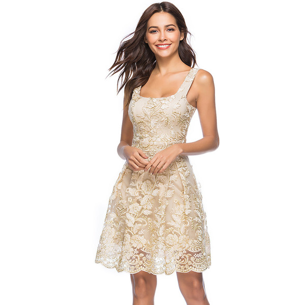 top popular Embroidery dresses Women's vintage Party Dresses lace fashion Square neck summer embroidered dress 2021