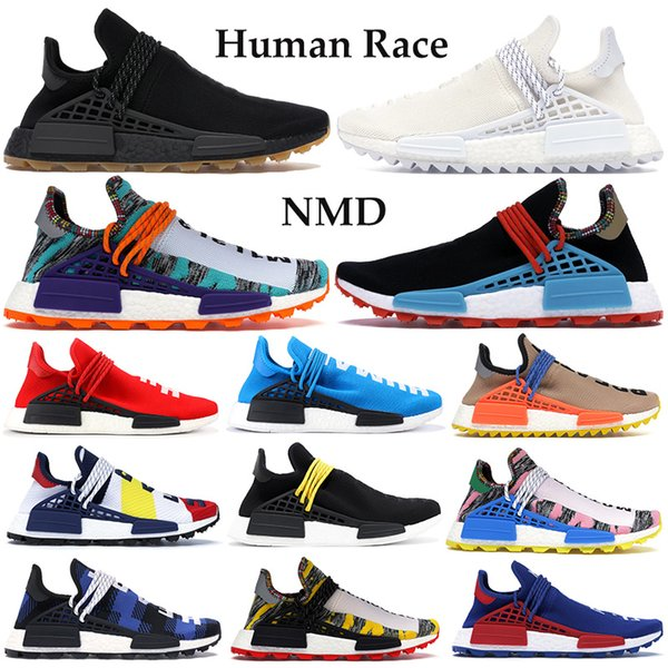 top popular NMD Human race Hu Trail Running Shoes Men Women PK Sneakers infinite species breath though BBC Multi-Color white F&F black Trainers with box 2021