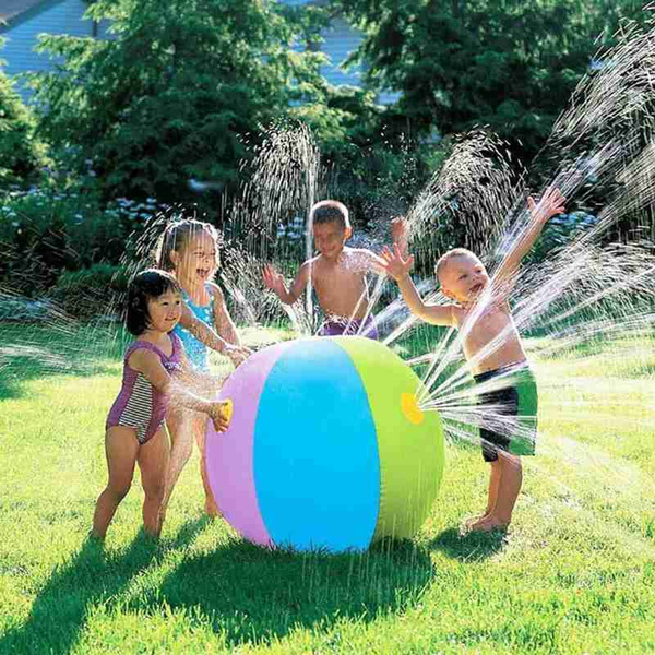 top popular 75CM Summer Inflatable Water Spray Ball Toy Fun Water Polo Lawn Inflatable Sprinkler Ball Swimming Pool Play Water Summer Toy DHL Free 2021