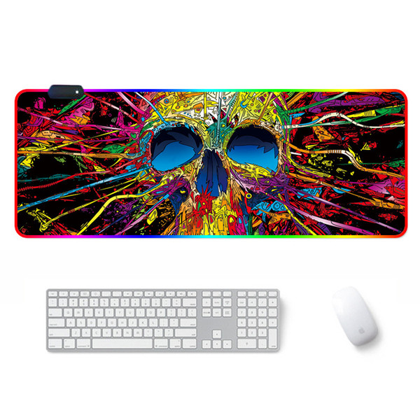 top popular Print RGB Large Gaming Mouse Pad 7 Different Colors Changing Mouse Pad Oversize Glowing Led Extended Mousepad Keyboard Mat 2021