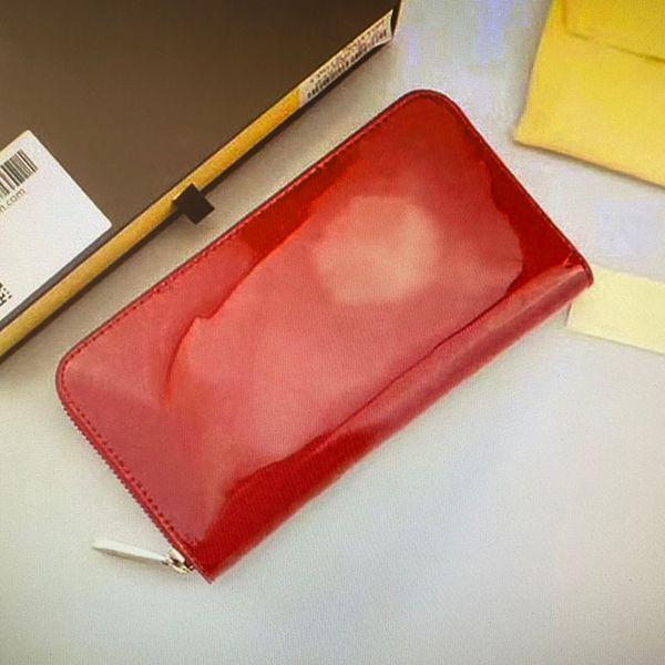 best selling M90417 ZIPPY Wallet Monograms Vernis Patent Leather Solid Embossed Patent Lady Zipper Wallets Card Holder Women Single Zip Long Wallet 90417