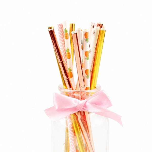top popular 25pcs lot Pineapple Star Stripe Mixing Straws Festive Supplies Wedding Birthday Party Disposable Degradable Colorful Paper Straw jRtG# 2021