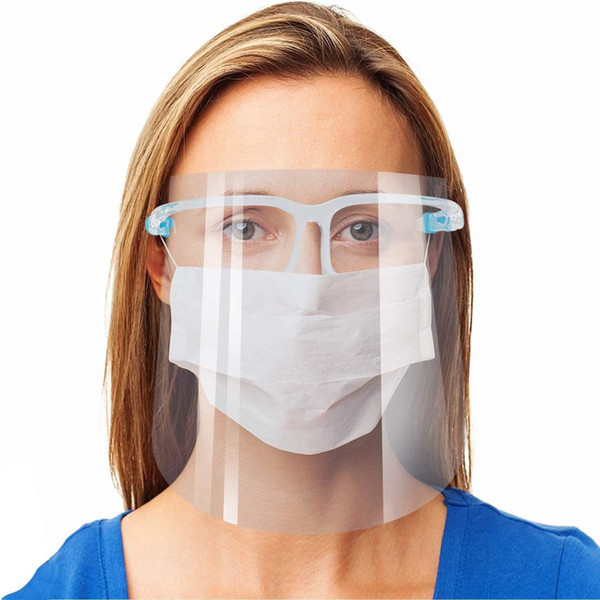 best selling Reusable Safety Face Shield Glasses Goggle Faceshield Visor Transparent Anti-Fog Anti-Splash Layer Protect Eyes from Splash Face Mask By DHL