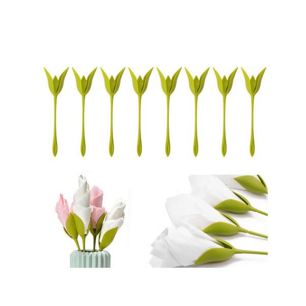 best selling Creative Plastic Bloom Napkin Holders Table Green Twist Flower Buds Serviette Holders