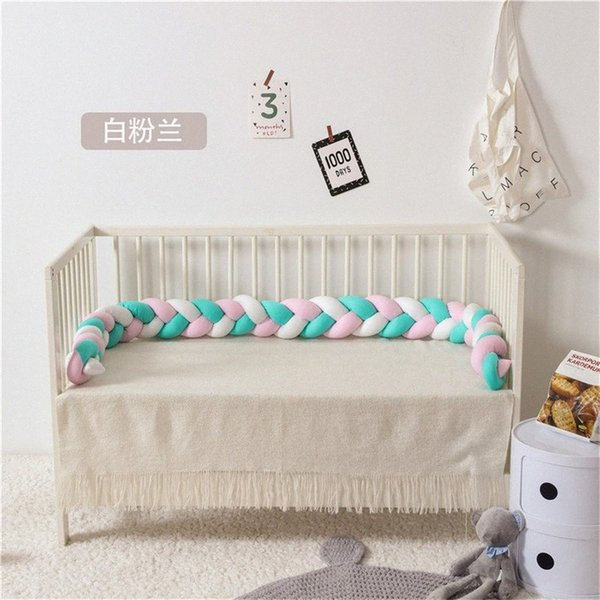 top popular baby bed bumper Infant Crib Protector Weaving Knot Plush Baby Crib Bumper Protector Infant Pillow Room Decor 220CM Qi6m# 2021