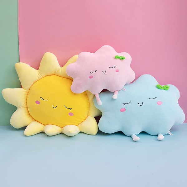 top popular Cute Sun Cloud Plush Pillow Stuffed Soft Creative Plush Sun Cloud Toy Car Pillow Home Decor Kids Toys MX200716 2020
