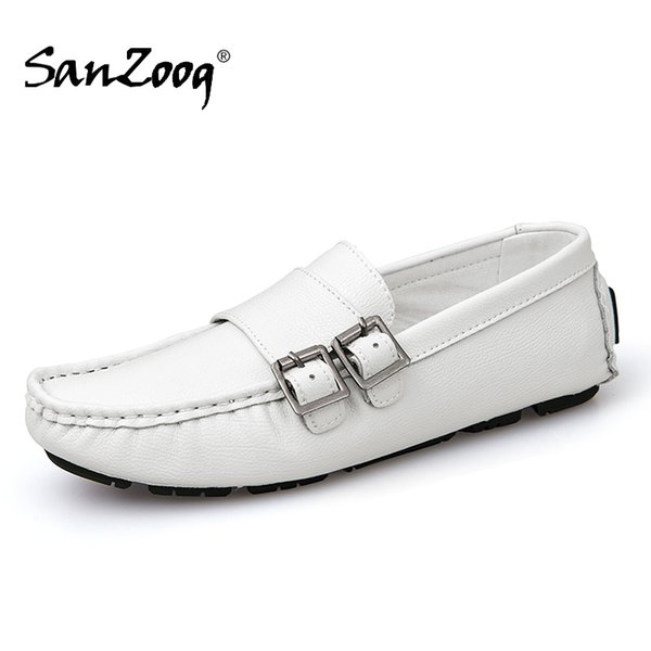 white soft leather mens loafers slip on men shoes casual mocasines hombre slip-ons comfortable driving shoes loafer lofer light, Black