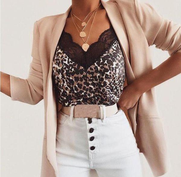 top popular 2Pcs lot Sexy New Womens Camisole Vest Camis Silk Tanks Leopard Print Ladies Silk Gallus Leisure Lace Club Underwear Size S-XXL 2021